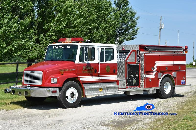 McDaniels  Engine 18<br /> x-Harrison Twp (Vinton), OH<br /> 1996 Freightliner FL80/Southern Coach 1250/1000<br /> Greg Stapleton photo