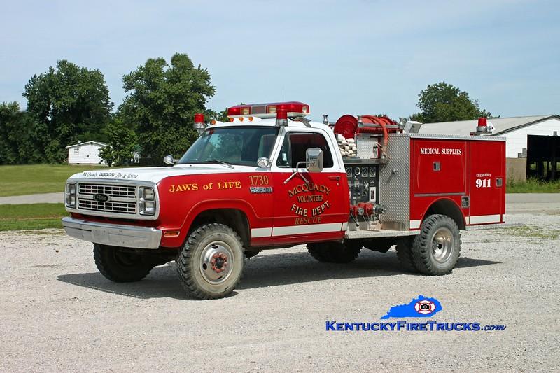 <center> RETIRED <br> McQuady  Engine 1 <br> 1979 Dodge W30 4x4/Pierce 400/250 <br> Kent Parrish photo </center>