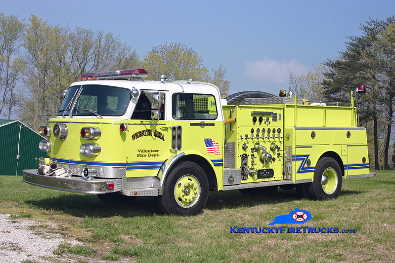 <center> RETIRED <br> Webster Area  Engine 1 <br> x-South Dixie, KY <br> 1982 American LaFrance Century 1500/750 <br> Kent Parrish photo </center>