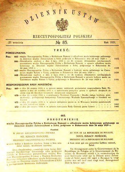 DZINNIK USTAW Rzeczpopolitej Polskiej. # 85. 21 wrzesnia 1931,