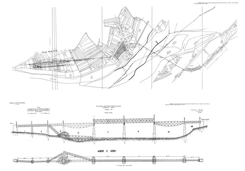 Технічний малюнок залізничного моста зі схемою місця руйнування його елементів