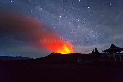 Bromo volcano under the stars