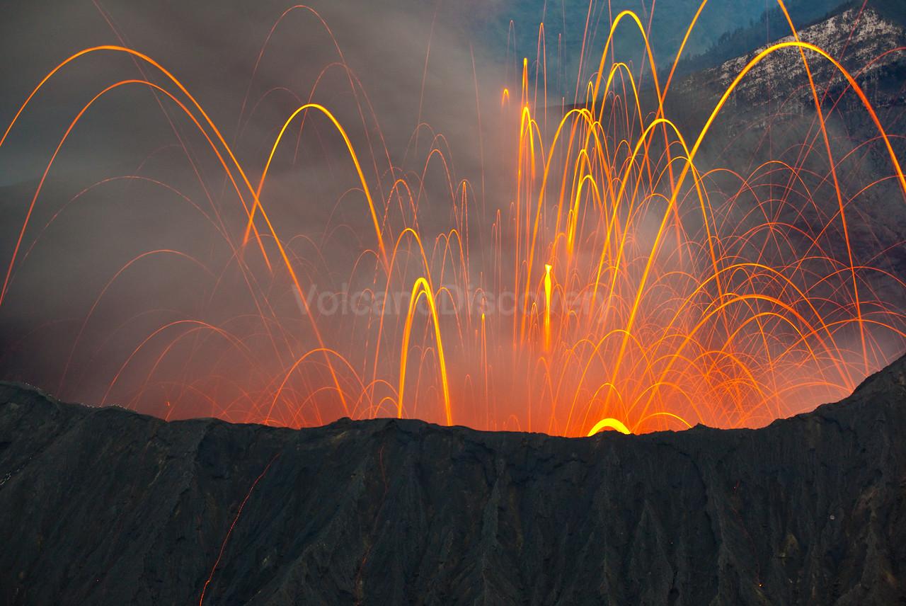 Bromo volcano erupting