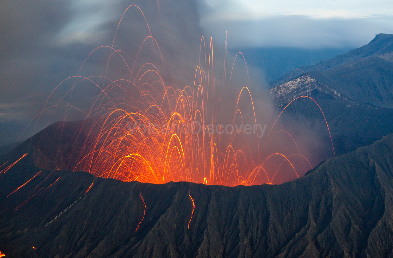 Eruption in the morning dawn