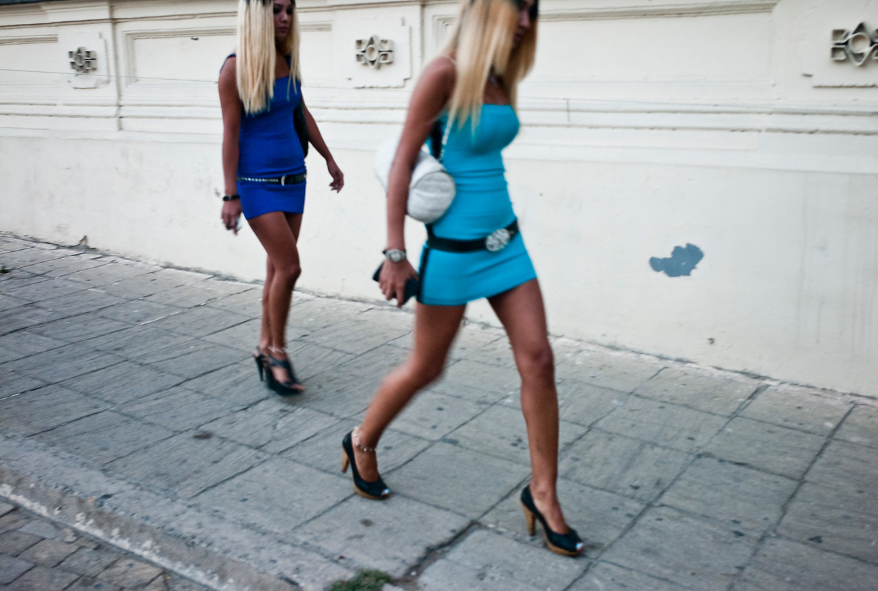 August 2011, Baku:   Young women, who could either be members of the new rich elite or high class prostitutes,  about to enter an exclusive Baku restaurant.  Since the money has begun to flow from the Baku-Tbilis-Ceyhan (BTC) oil pipeline, designer shops and expensive hotels and restaurants have sprung up in Baku.  The disparities between rich and poor are however still enormous.