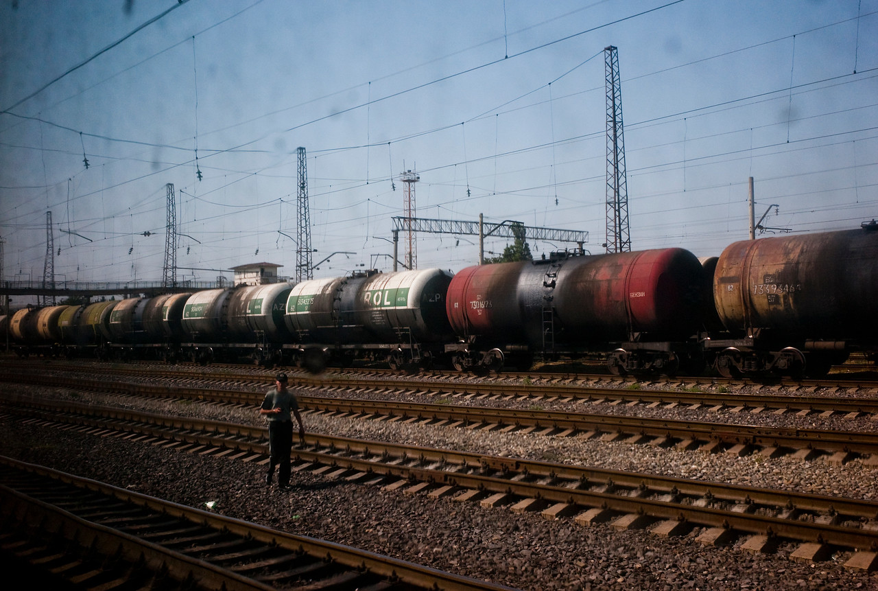 August 2011, Georgian - Azeri border  Oil train transporting oil from Baku to the Georgian Black Sea terminal of Batumi.  Until the construction of the Baku Tbilisi Ceyhan (BTC) pipeline this was one of the only ways to export Azeri oil to world markets without going through Russia.  Since it became operational in 2006 the BTC has allowed Azerbaijan to export its oil to world markets through Georgia and Turkey, thus avoiding Russia.  It has given Azerbaijan a greater sense of independence and a new role for Georgia in Europe's energy security to the annoyance of Russia.  Some blame the BTC for Russia's alleged continued covert involvement in regional latent conflicts (Abkhazia, South Ossetia, Nagorno Karabakh).