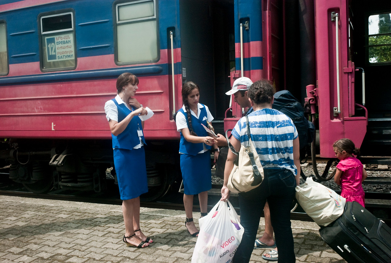 August 2011, Batumi, Georgia:  Tourists from Armenia board the Armenian train in Batumi.  The new oil money has helped Batumi to grow its tourism industry and now attracts tourists from neighbouring Armenia, Azerbaijan, Turkey, Iran and Israel.