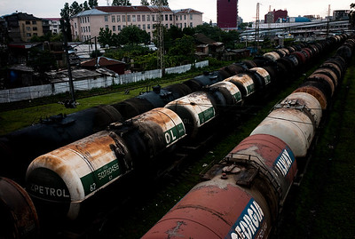 August 2011, Batumi, Georgia:  Oil tankers being transported from Caspian sea to Batumi by rail.   Since 2006 the BTC has allowed Azerbaijan to export its oil to world markets through Georgia and Turkey, thus avoiding Russia.  It has given Azerbaijan a greater sense of independence and a new role for Georgia in Europe's energy security to the annoyance of Russia.  Some blame the BTC for Russia's continued covert involvement in regional latent conflicts especially the South Ossetian crisis which led to the Russia-Georgia war.