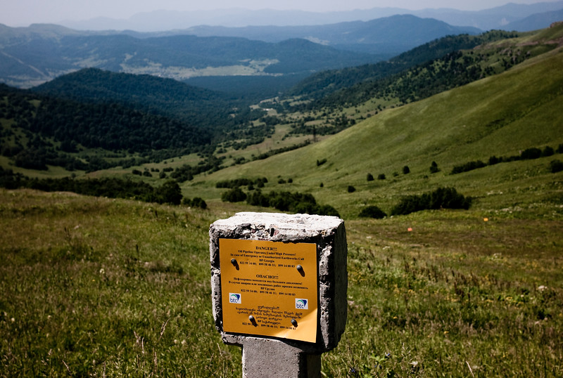 August 2011- Bakuriani, Georgia   Marker for the BTC pipeline seen near its highest point in Georgia  Since it became operational in 2006 the BTC has allowed Azerbaijan to export its oil to world markets through Georgia and Turkey, thus avoiding Russia.  It has given Azerbaijan a greater sense of independence and a new role for Georgia in Europe's energy security to the annoyance of Russia.  Some blame the BTC for Russia's continued covert involvement in regional latent conflicts (Abkhazia, South Ossetia, Nagorno Karabakh).