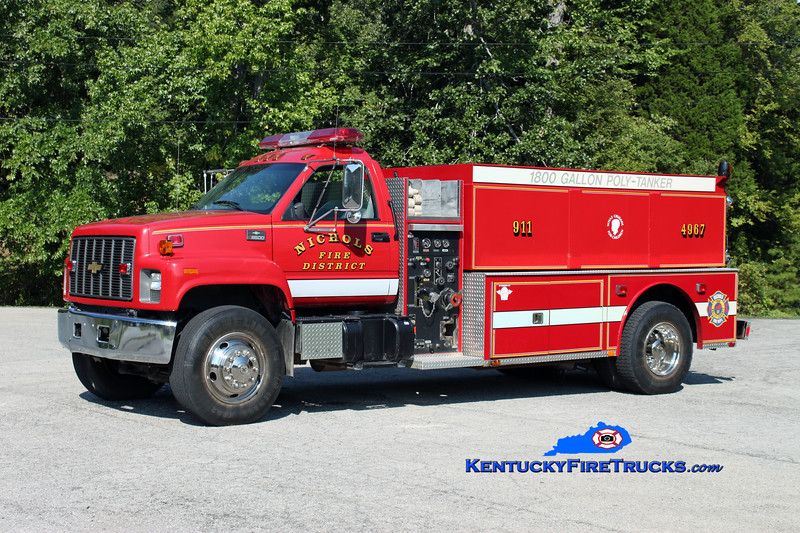 <center> Nichols  Tanker 4967 <br> 1997 Chevy C8500/Fouts Bros 500/1800 <br> Kent Parrish photo <br> </center>