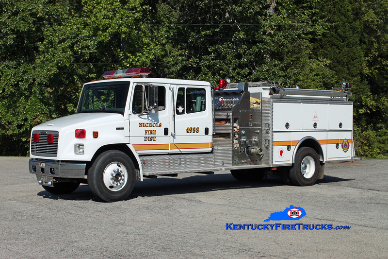 <center> Nichols  Engine 4938 <br> 1996 Freightliner FL80/KME 1000/1000 <br> Kent Parrish photo <br> </center>