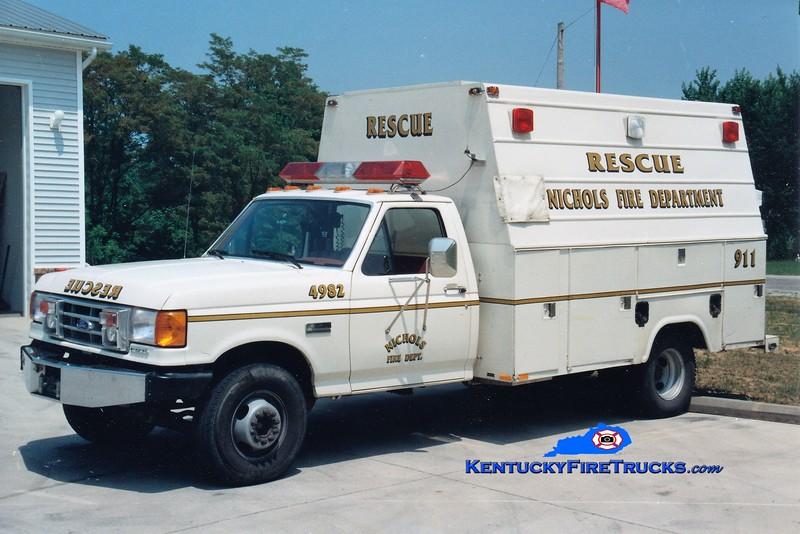 RETIRED<br /> Nichols  Rescue 4982<br /> 1991 Ford F-350/Stahl<br /> Greg Stapleton photo