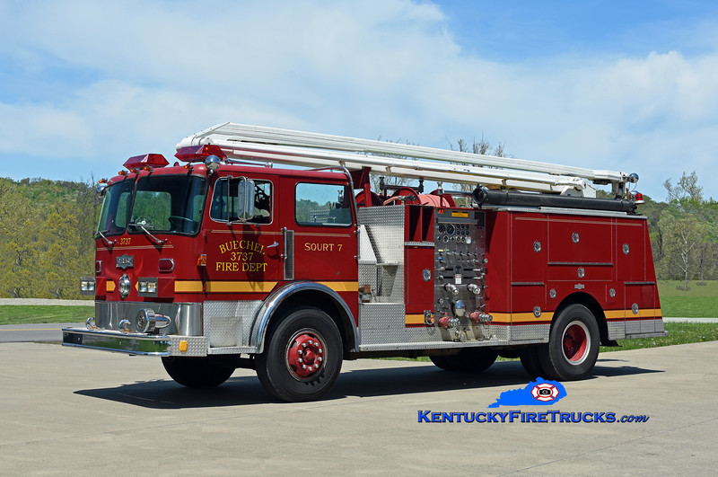 This rig originally served the Buechel Fire District in Jefferson County for many years and then several more with the Northeast Nelson Fire District.  It has since been acquired by Chris Allen and now appears as it once did at Buechel.   <br /> <br />  Privately Owned <br />  x-Buechel and Northeast Nelson, KY<br />  1980 Pirsch 1250/500/54' Squrt <br />  Kent Parrish photo