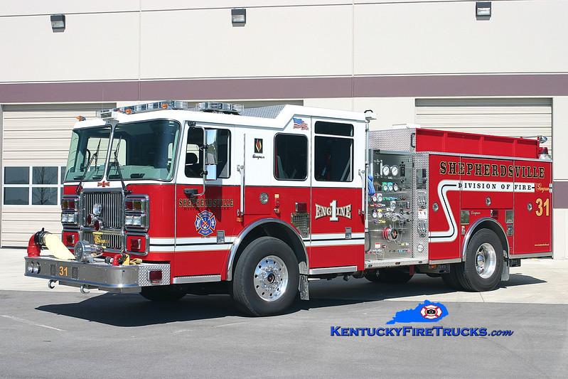 <center> RETIRED <br> Shepherdsville Engine 1 <br> 2006 Seagrave Marauder II 1500/750 <br> Kent Parrish photo </center>