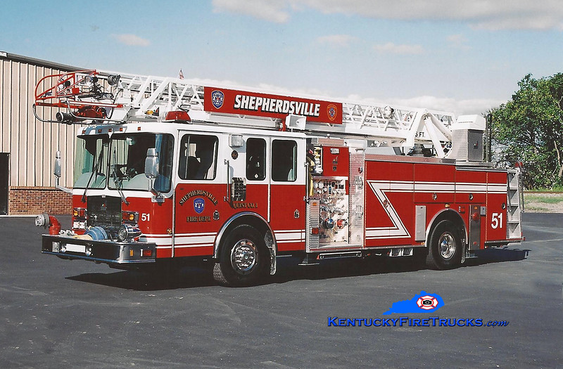 <center> RETIRED <br> Shepherdsville Quint 1 <br> 2000 HME/Smeal 1500/400/75' <br> Kent Parrish photo </center>