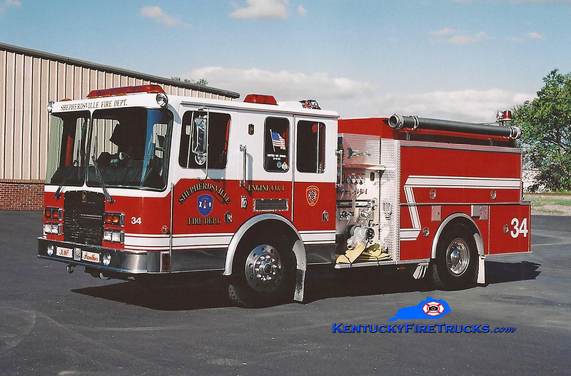<center> Shepherdsville Engine 4 <br> 1993 HME/KME 1250/1000 <br> Kent Parrish photo </center>