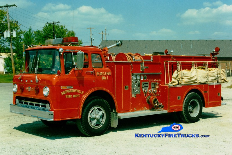 <center> RETIRED <br> Shepherdsville Engine 1 <br> 1974 Ford C-850/Ward LaFrance 1000/750 <br> Greg Stapleton photo </center>
