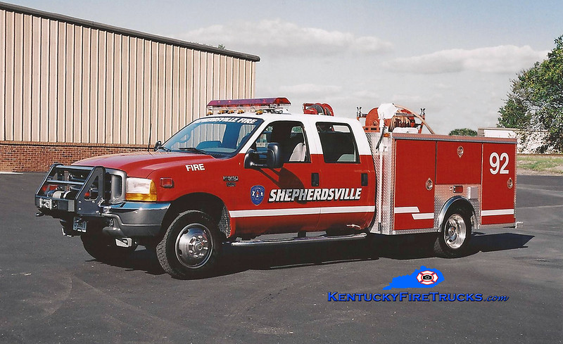 <center> RETIRED <br> Shepherdsville Squad 2 <br> 2000 Ford F-350 4x4/EVI 250/250 <br> Kent Parrish photo </center>