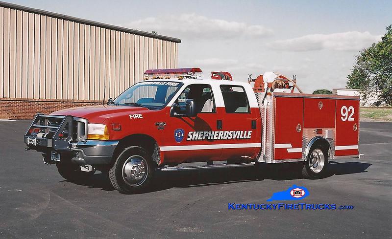 <center> RETIRED <br> Shepherdsville Squad 2 <br> 2000 Ford F-350 4x4/EVI 250/250 <br> Kent Parrish photo </center>