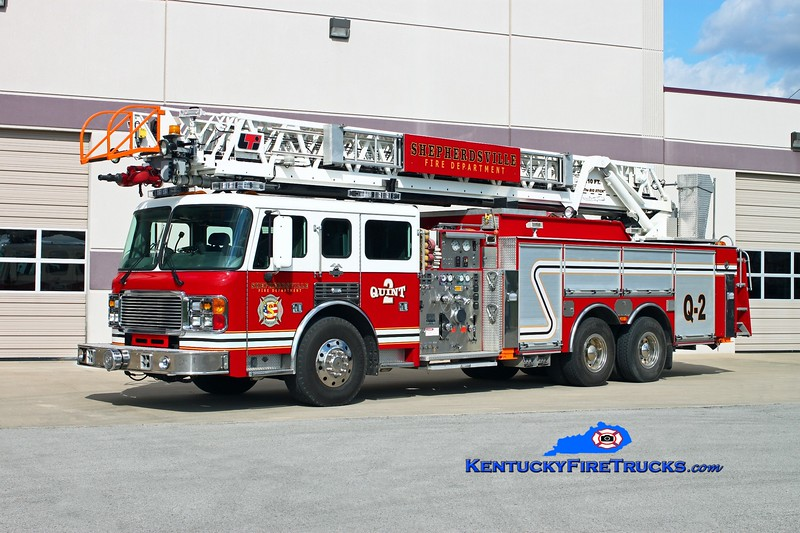 <center> Shepherdsville Quint 2 <br> x-Ridge Road, NY <br> 2000 American LaFrance Eagle/LTI 1500/400/110'  <br> Kent Parrish photo </center>