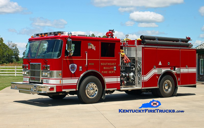 <center> Southeast Bullitt Engine 6133 <br> 2009 Pierce Contender 1250/1000 <br> Kent Parrish photo </center>