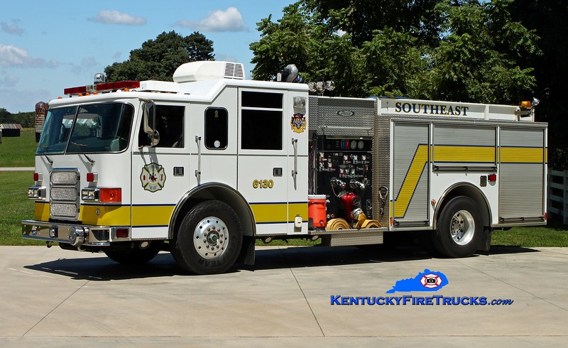 <center> RETIRED <br> Southeast Bullitt Engine 6130 <br> x-Town of Palm Beach, FL <br> 2001 Pierce Enforcer 1250/500/30 <br> Kent Parrish photo </center>