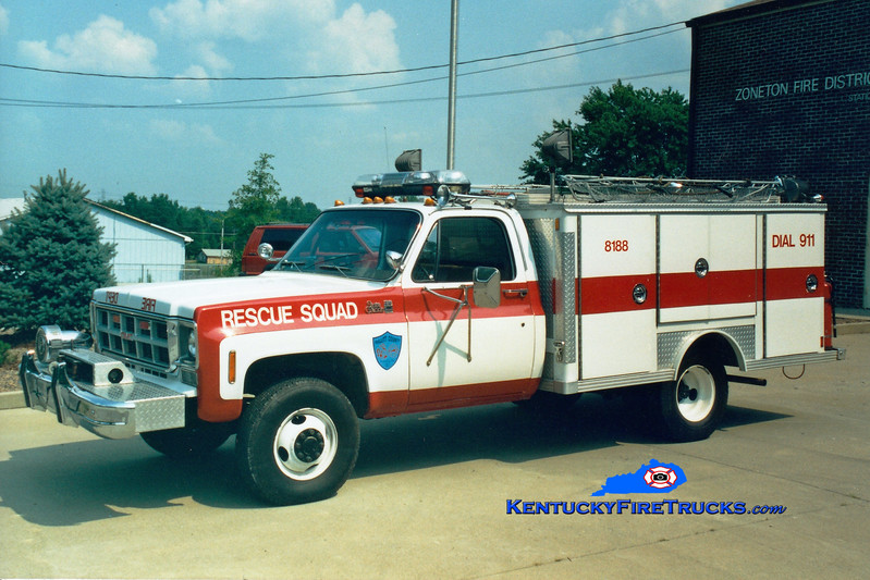 <center> RETIRED <br> Zoneton  Rescue 8188 <br> 1978 GMC 35 4x4/E-One  <br> Greg Stapleton photo </center>