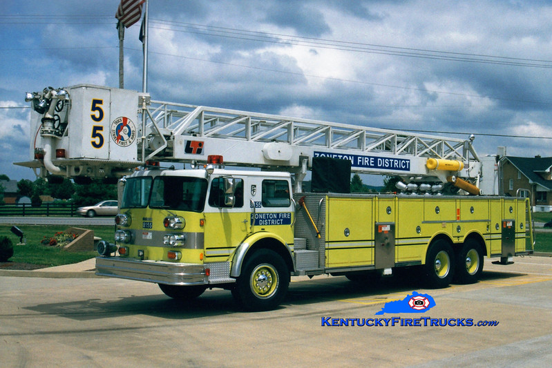 <center> RETIRED <br> Zoneton  Truck 8155 <br> x-Pleasure Ridge Park, KY <br> 1978 Pemfab/FTI/LTI  85' <br> Greg Stapleton photo </center>