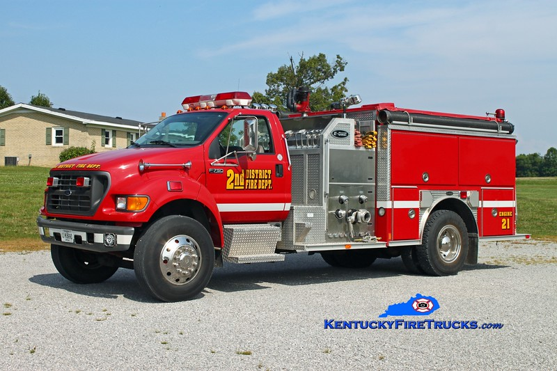 <center> 2nd District  Engine 21  <br> 1999 Ford F-750/E-One 1250/1000 <br> Kent Parrish photo </center>