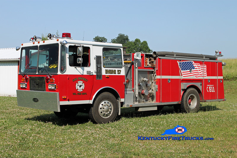 <center> 5th District  Engine 57 <br> x-Hopewell Twp, NJ <br> 1985 Hendrickson 1871-W/E-One 1500/500 <br> Kent Parrish photo </center>