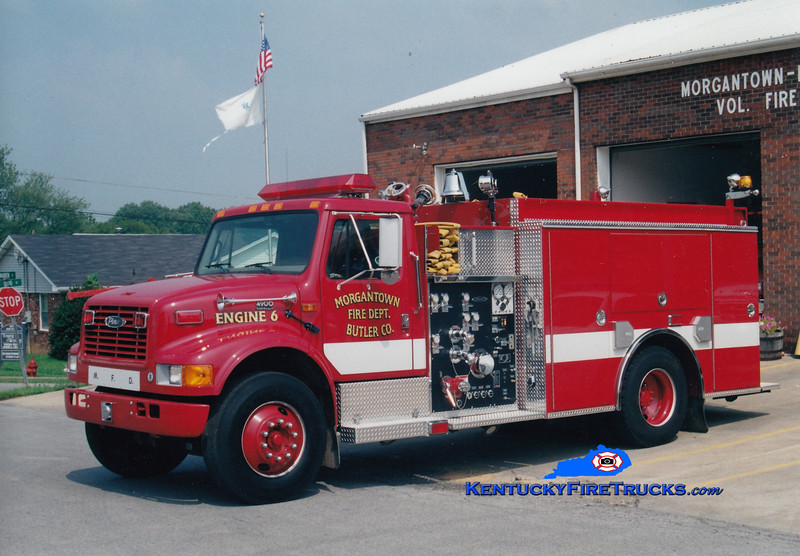 <center> Morgantown  Engine 6  <br> 1999 International 4900/Pierce 1250/1000 <br> Greg Stapleton photo </center>
