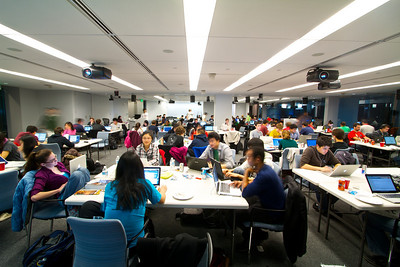 Room full of students working on their computers.