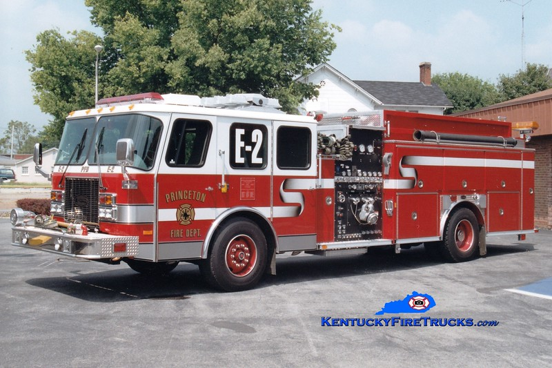 <center> Princeton  Engine 2 <br> 1997 E-One Cyclone II 1500/1000  <br> Greg Stapleton photo </center>