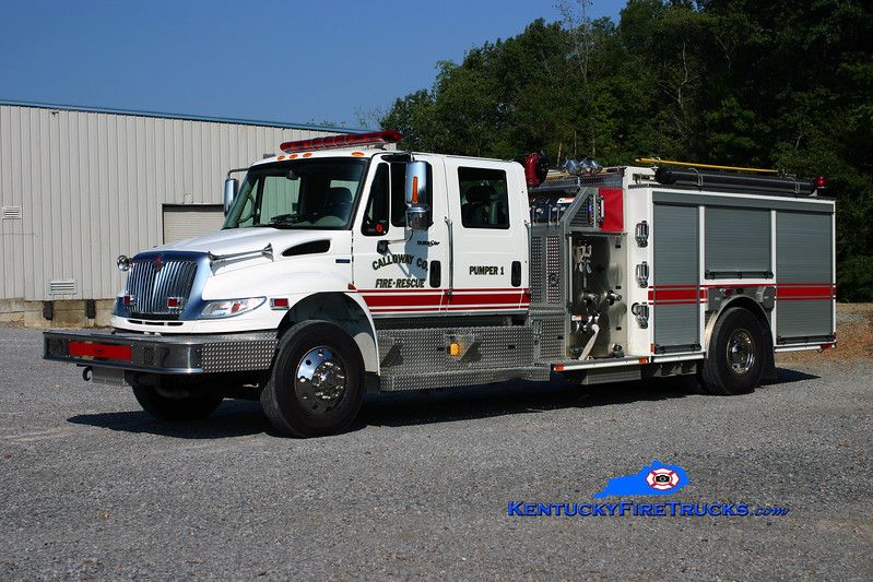 <center> Calloway County Pumper 1 <br> REASSIGNED TO PUMPER 111 <br> 2008 International 4400/E-One 1250/1000 <br> Kent Parrish photo </center>