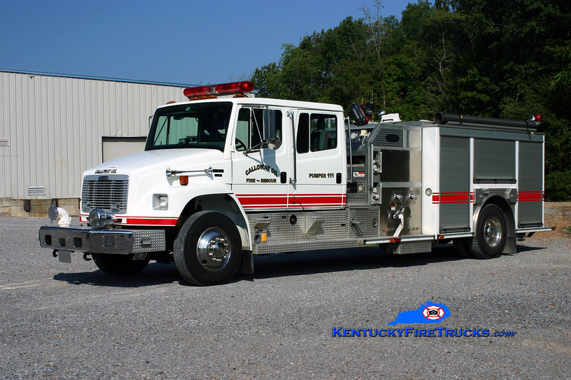 <center> Calloway County Pumper 111 <br> REASSIGNED TO PUMPER 9 <br> 2003 Freightliner FL70/E-One 1250/1000 <br> Kent Parrish photo </center>