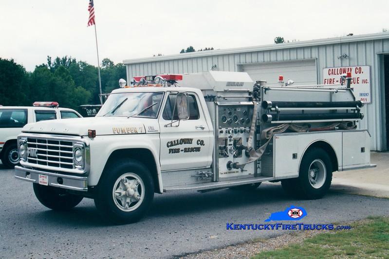 <center> RETIRED <br> Calloway County Pumper 7 <br> 1978 Ford F/FMC-Bean 750/750 <br> Greg Stapleton photo </center>