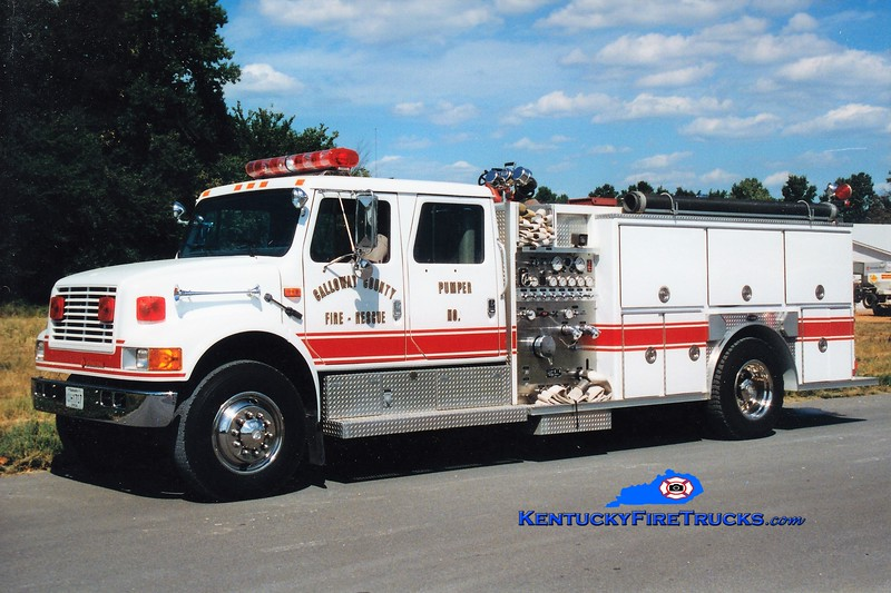 Calloway County Pumper 5<br /> REASSIGNED TO PUMPER 8<br /> x-Pumper 1 <br /> 1992 Interanational 4900/E-One 1250/1000<br /> Greg Stapleton photo