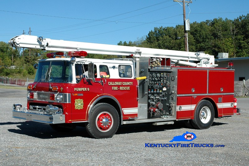 Calloway County Pumper 9<br /> REASSIGNED TO TELESQURT 1<br /> 1986 Ford C-8000/Grumman 1250/500/50' TeleSqurt <br /> x-Laurel Springs, NJ<br /> Greg Stapleton photo