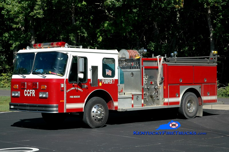 <center> RETIRED <br> Calloway County Pumper 7 <br> x-Hillsborough County, FL <br> 1987 E-One Cyclone 1000/1000 <br> Greg Stapleton photo </center>