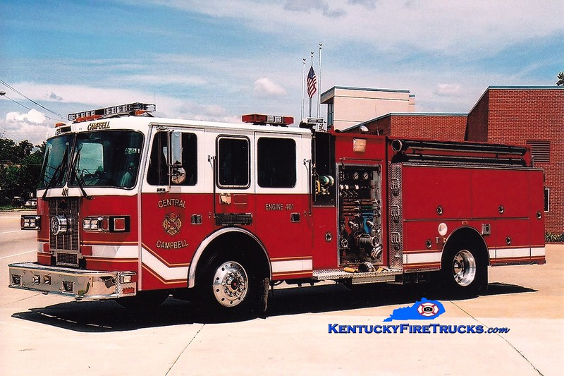 <center> Central Campbell  Engine 401  <br> Formerly with the Highland Heights FD <br> 1997 Sutphen 1500/750 <br> Greg Stapleton photo </center>