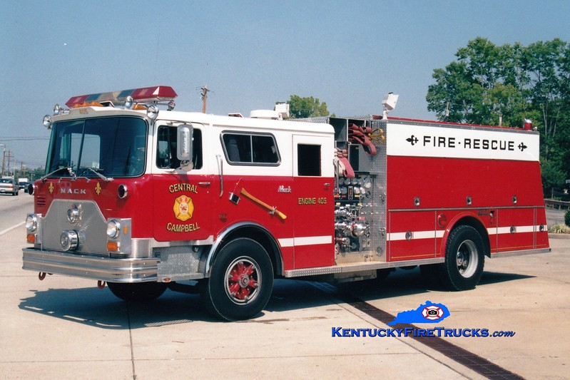 <center> RETIRED <br> Central Campbell  Engine 405  <br> Formerly with the Cold Spring-Crestview FD <br> 1989 Mack CF/Welch 1500/500 <br> Greg Stapleton photo </center>