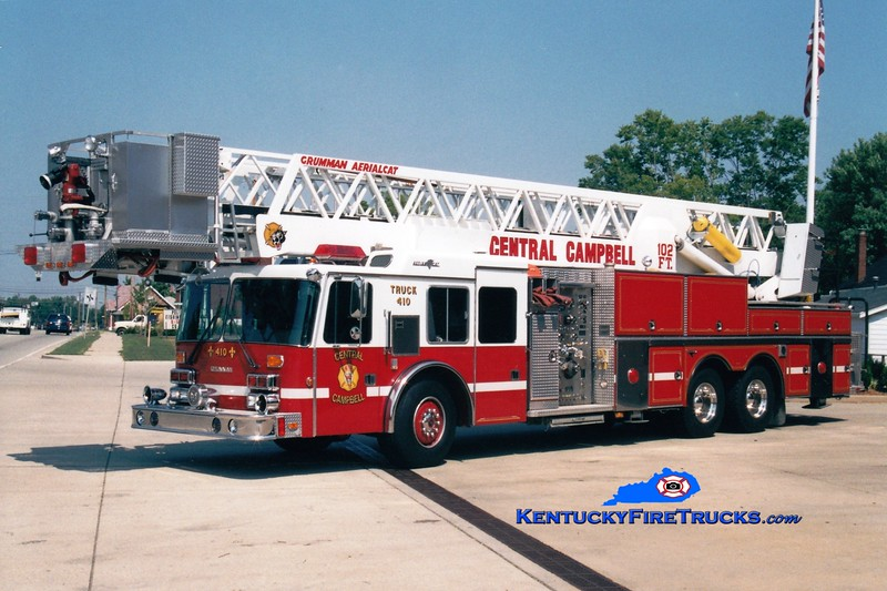 <center> RETIRED  <br> Central Campbell  Truck 410  <br> Formerly with the Cold Spring-Crestview FD <br> 1992 Simon-Duplex/Grumman Aerialcat 1500/150/102' <br> Greg Stapleton photo </center>