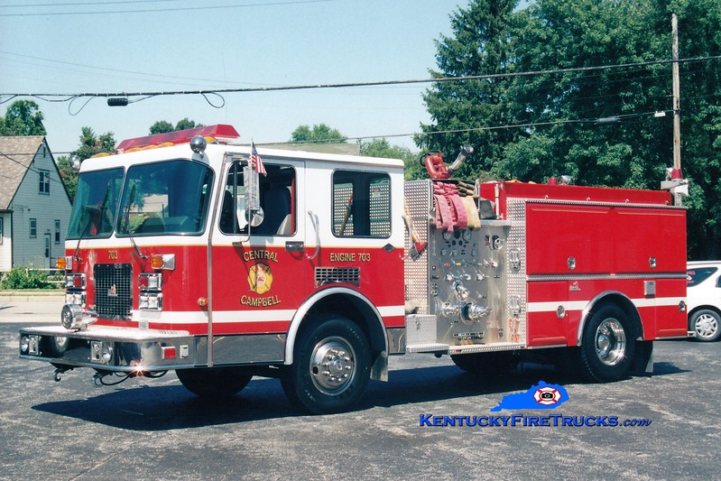 <center> RETIRED <br> Central Campbell  Engine 703  <br> Formerly with the Cold Spring-Crestview FD <br> 1993 Spartan/Ferrara Invader 1250/750 <br> Kent Parrish photo </center>