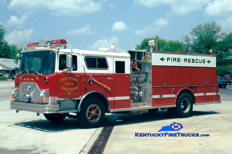 <center> NO LONGER IN SERVICE <br> Cold Spring-Crestview  Engine 5 <br> 1989 Mack CF/Welch 1500/500 <br> Greg Stapleton photo </center>