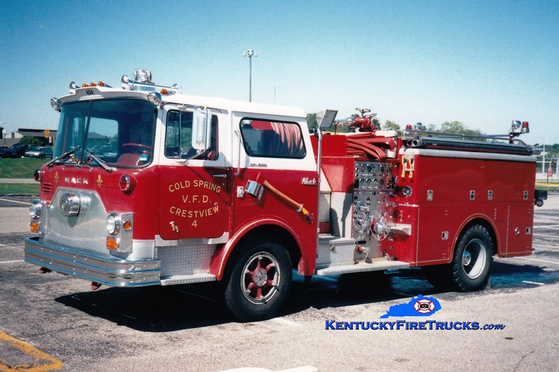 <center> NO LONGER IN SERVICE <br> Cold Spring-Crestview Engine 4 <br> 1970 Mack CF 1000/500  <br> Greg Stapleton photo </center>