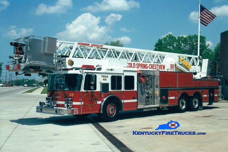<center> NO LONGER IN SERVICE <br> Cold Spring-Crestview  Truck 410 <br> 1992 Simon-Duplex/Grumman 1500/150/102'  <br> Greg Stapleton photo </center>