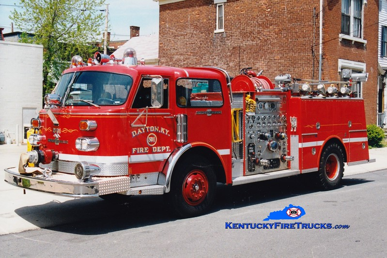 <center> NO LONGER IN SERVICE <br> Dayton Engine 501  <br> 1976 American LaFrance Century 1500/500 <br> Greg Stapleton photo </center>