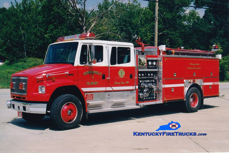 <center> Currently with Campbell County Fire District 1 <br> Eastern Campbell  Engine 4  <br> 1996 Freightliner FL80/Ferrara 1250/1000 <br> Greg Stapleton photo </center>
