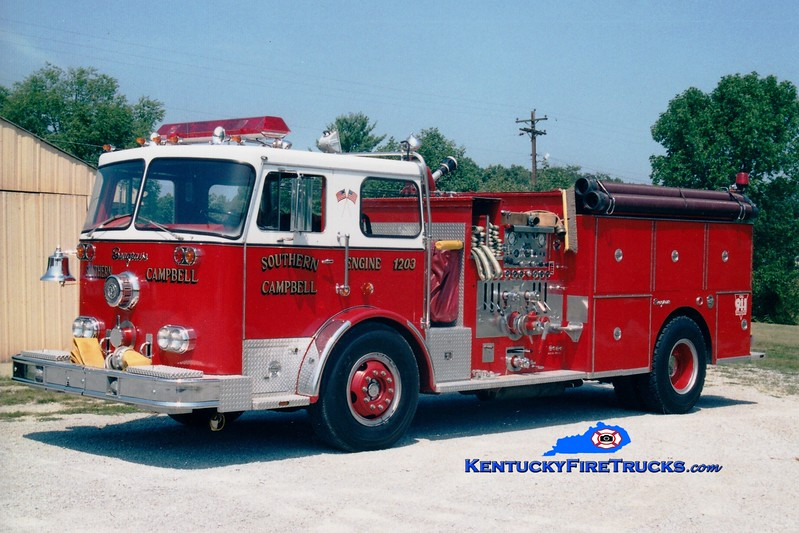 <center> RETIRED <br> Southern Campbell  Engine 1203  <br> x-Wilder, KY <br> 1976 Seagrave PB 1500/750 <br> Greg Stapleton photo </center>