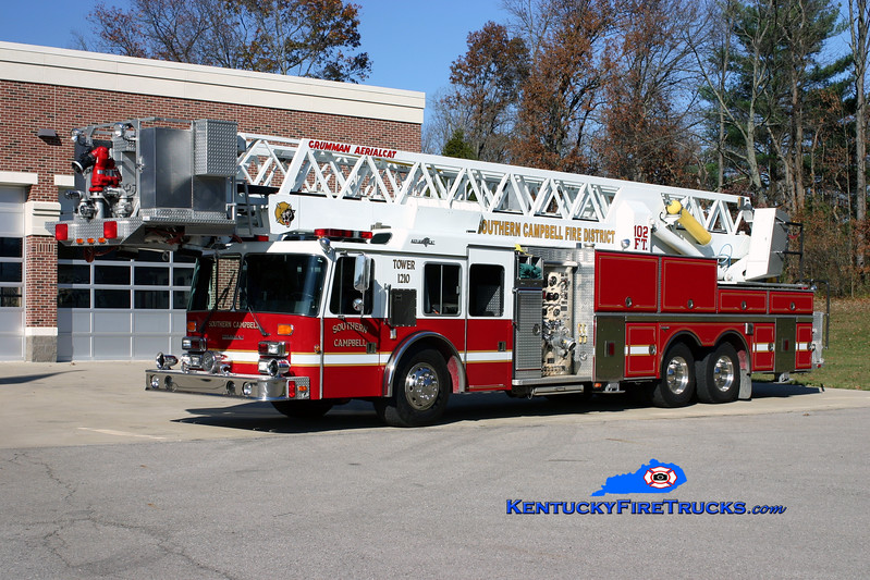 <center> Southern Campbell  Tower 1210  <br> x-Cold Spring-Crestview, KY <br> 1992 Simon-Duplex/Grumman Aerialcat 1500/150/102' <br> Kent Parrish photo </center>